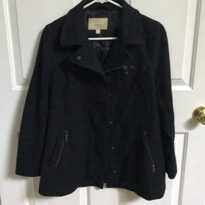 Banana Republic black zip/button wool blend coat
